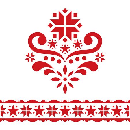 Scandinavian Chrirstmas folk art vector design set - single patterns collection, cute floral ornament with flowers and snowflakes in red on white background