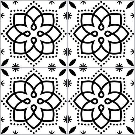 Geometric Azulejo vector tile seamless monochrome pattern inspired by Portuguese art, Lisbon style tiles background