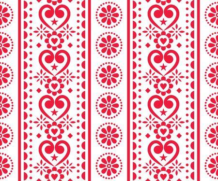 Amour folklorique, motif vertical sans couture de vecteur de la Saint-Valentin - style de broderie traditionnelle scandinave avec des fleurs et des coeurs Vecteurs