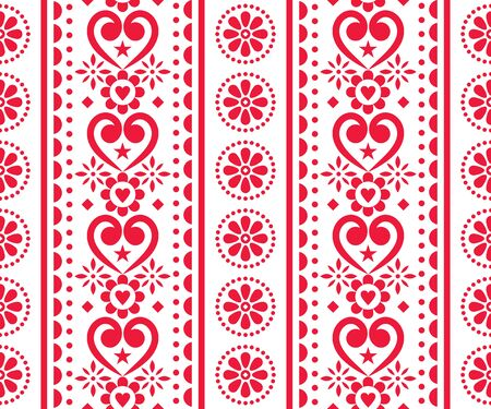 Folk love, Valentine's Day vector seamless vertical pattern - Scandinavian traditional embroidery style with flowers and hearts Vector Illustration