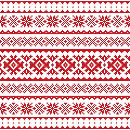 Christmas, winter vector seamless pattern, Sami people, Lapland folk art design, traditional knitting and embroidery