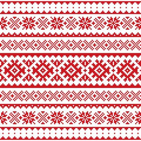 Noël, modèle sans couture de vecteur d'hiver, peuple Sami, conception d'art populaire de Laponie, tricot et broderie traditionnels