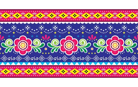 Pakistani truck art vector seamless pattern, Indian truck floral long horizontal design with flowers, leaves and abstract shapes