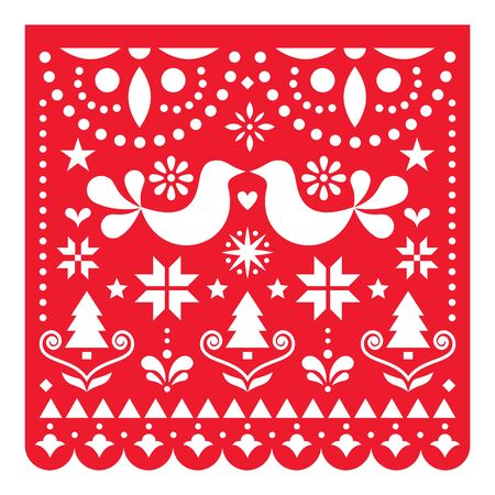 Christmas Papel Picado vector design, Mexican Xmas greeting card with Christmas trees, stars, snowflakes and flowers pattern Ilustracje wektorowe