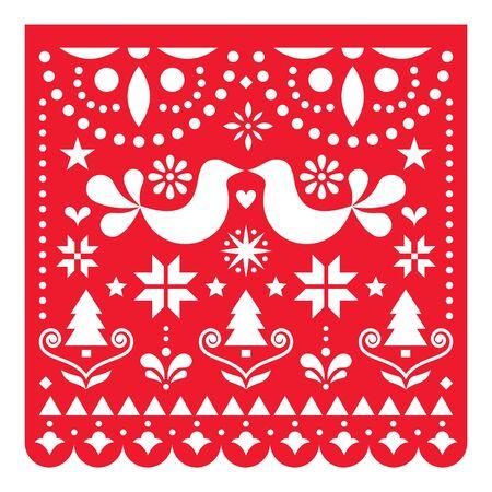 Conception vectorielle de Noël Papel Picado, carte de voeux de Noël mexicaine avec motif d'arbres de Noël, d'étoiles, de flocons de neige et de fleurs Vecteurs