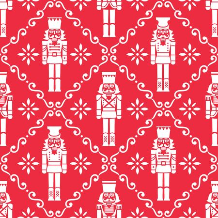 Christmas nutcrackers vector seamless pattern - Xmas soldier figurine repetitive white ornament on red, textile design Illusztráció