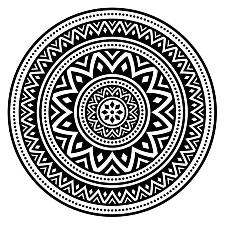 Mandala bohemian vector pattern, creative zen round design in black and white Illusztráció