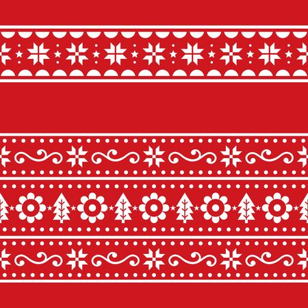 Christmas Scandinavain folk art vector repetitive seamless pattern set, Nordic festive two repetitive designs with snowflakes, flowers, Xmas trees