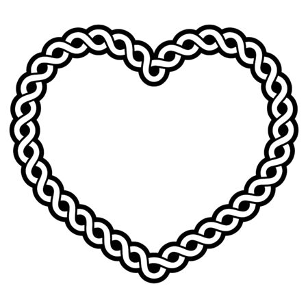 Celtic vector pattern heart shape - love concept, braided heart frame, greeting card for St. Patricks Day, Valentines Day