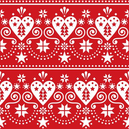Scandinavian Christmas folk art seamless vector pattern - long, horizontal repetitive design with Christmas trees, snowflakes and hearts Ilustrace