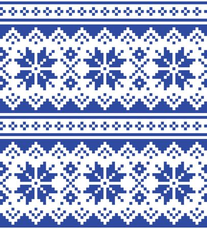 Christmas winter vector seamless navy blue pattern with snowflakes, inspired by Sami people, Lapland folk art design, traditional knitting and embroidery Ilustrace
