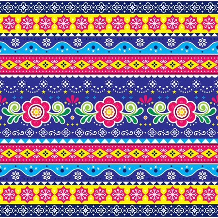 Pakistani or Indian truck art vector seamless pattern, repetitive design with flowers, leaves and abstract shapes Illustration