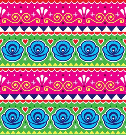 Pakistani or Indian truck art vector seamless pattern, decorative geometric truck floral pink and green design with roses Banco de Imagens - 138080555