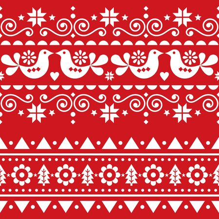 Scandinavian Christmas folk seamless vector long pattern, repetitive winter cute Nordic design with birds, Christmas trees, snowflakes and flowers