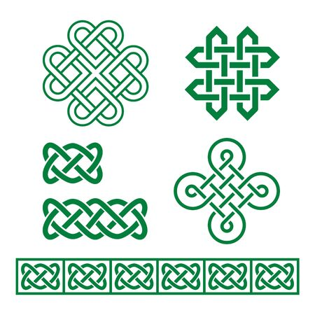 Celtic Irish vector pattern and braid set inspired by traditional Celts art from Ireland, Scotland and Welsh