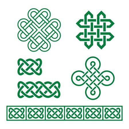 Conjunto de trenzas y patrones vectoriales celtas irlandeses inspirados en el arte celta tradicional de Irlanda, Escocia y Gales