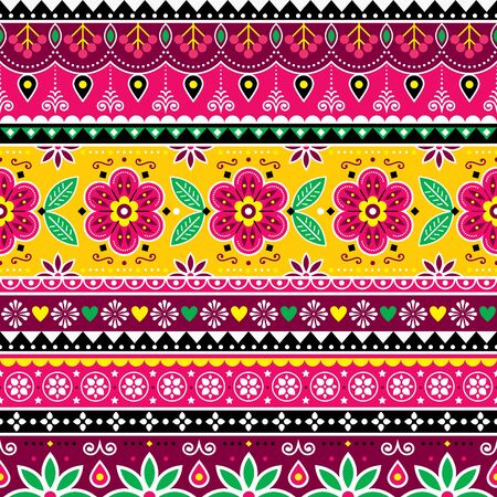 Indian or Pakistani truck art inspired seamless folk art pattern, Indian Jingle trucks vector design, traditional ornament with flowers, leaves and abstract shapes Vector Illustration