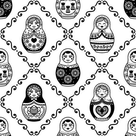 Russian nesting doll vector seamless pattern, repetitive design inpisred by Matryoshka dolls from Russia Ilustração