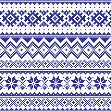 Winter vector seamless navy blue pattern with snowflakes and geometric shapes, Christmas ornament inspired by Sami people, Lapland folk art design, traditional knitting and embroidery Stock fotó - 138192394