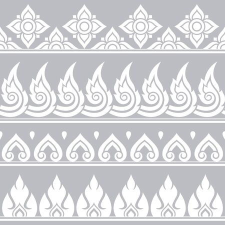 Seamless vector Thai retro pattern, repetitive design from Thailand - folk art style in gray and white