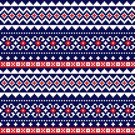 Fair Isle traditional knittting style vector seamless design, Scotish Shetland islands repetitive design Ilustrace
