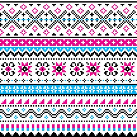 Scottish Fair Isle style traditional knit vector seamless pattern, Shtelands knitwear repetitive design Ilustrace