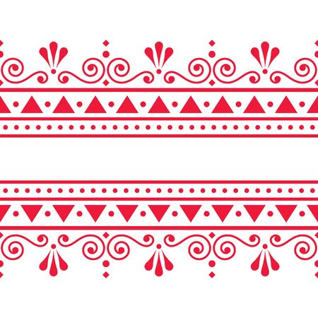 Valentines Day vector greeting card design or wedding inviatation - Scandinavian traditional embroidery folk art style with flowers Ilustrace