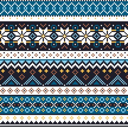 Scottish Fair Isle style traditional knitwear vector seamless pattern, Shtelands knit repetitive design with snowflakes Ilustrace