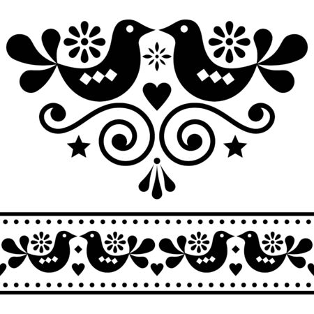 Scandinavian folk vector design elements, cute floral design with birds in black on white background