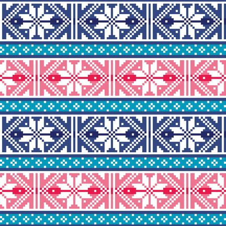 Fair Isle style traditional knitwear vector seamless pattern from Scotland, knit repetitive design with snowflakes Ilustrace
