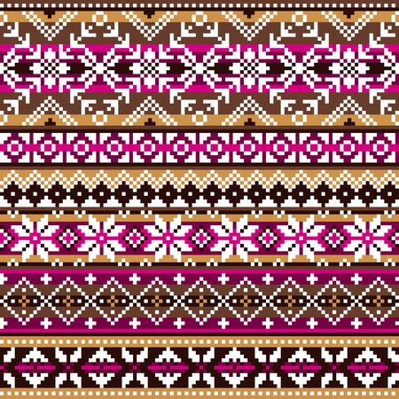 Scottish Fair Isle style traditional knitwear vector seamless pattern, retro Shtelands knit repetitive design with snowflakes in brown and pink
