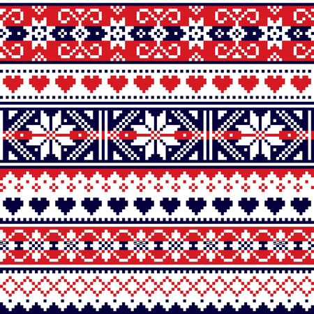 Scottish Fair Isle style traditional knitwear vector seamless pattern, retro Shtelands knit repetitive design with snowflakes and hearts