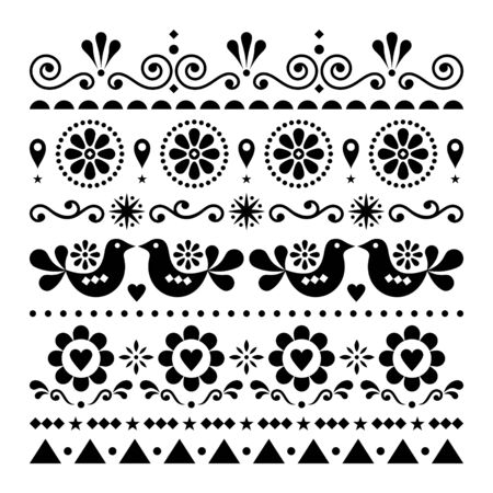 Folk art love, Valentines Day vector greeting card or wedding invitation pattern, cute design with birds and flowers - Scandinavian style