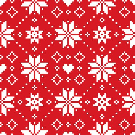 Christmas or winter Scottish Fair Isle style traditional knitwear vector seamless pattern with white snoflakes on red background