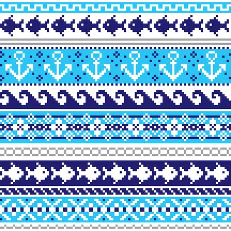 Scottish Fair Isle style traditional knitwear vector seamless pattern, marine style design with anchors, fish, and sea or ocean waves