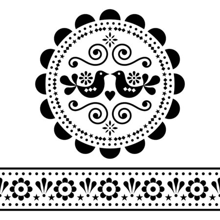 Scandinavian folk vector design pattern set - round and seamless design, cute floral ornament with birds in black on white background