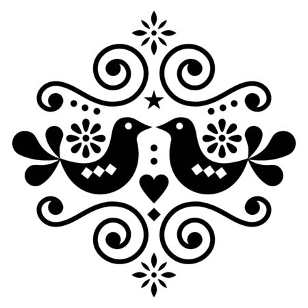 Scandinavian floral folk art vector design, cute Nordic pattern with birds in black on white background