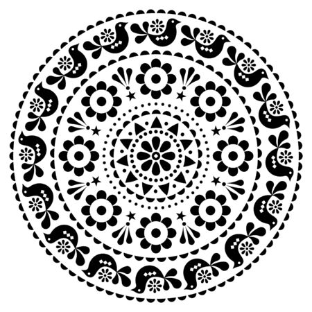 Scandinavian folk vector design mandala pattern - round design, cute floral ornament with birds in black on white background