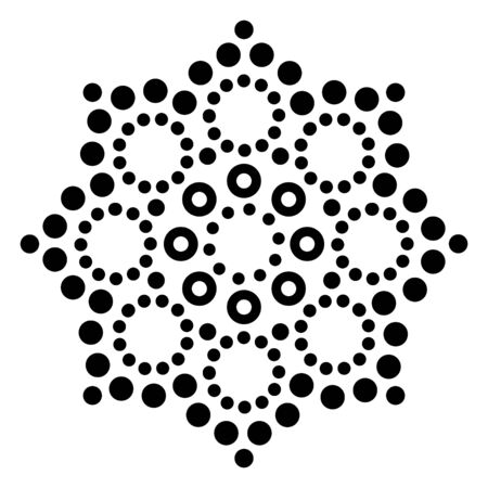 Mandala Australian dot paiting vector design, retro Aborigina decorative pattern, Australian mosaic art