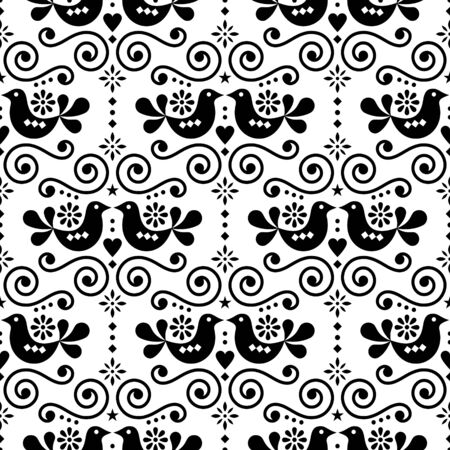 Scandinavian folk seamless vector pattern, repetitive floral cute Nordic design with birds in black on white background Stock fotó - 138192593