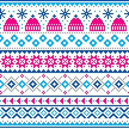 Winter, Christmas Fair Isle style traditional knitwear vector seamless pattern with winter hats and snowflakes