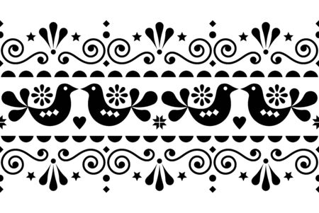Scandinavian folk seamless vector long pattern, repetitive floral cute Nordic design with birds in black on white background