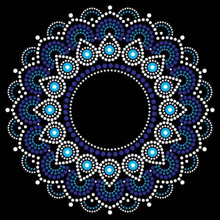 Abstract mandala with dots, circles, ethnic Australian geometric composition in white and blue on black background  イラスト・ベクター素材