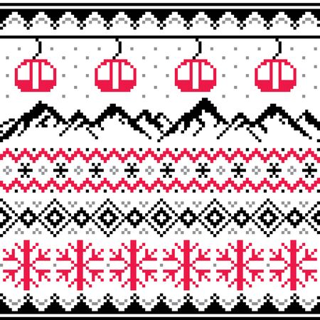 Winter sports in mountains, gondolas ski and snowboard vector seamless pattern -  Fair Isle style traditional knitwear