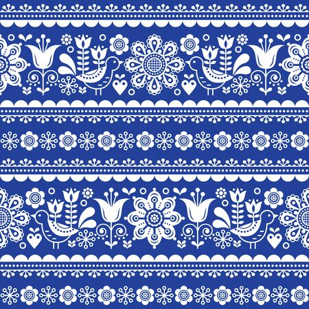 Scandinavian seamless vector pattern with flowers and birds, Nordic olk art repetitive white ornament on navy blue background