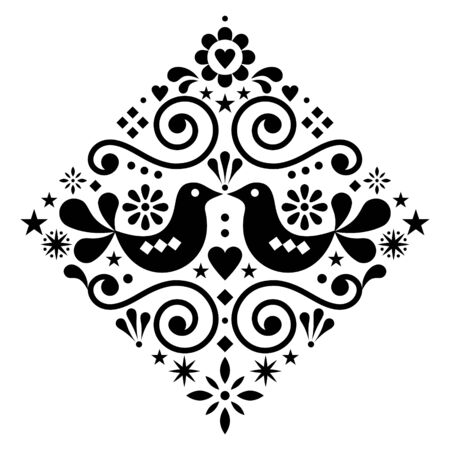 Scandinavian floral folk art vector design square or diamon shape, cute Nordic pattern with birds in black on white background Zdjęcie Seryjne - 138394652
