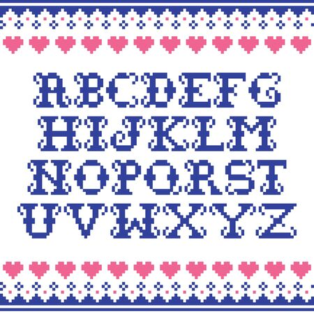 Alphabet template knitwear seamless vector winter pattern - Fair Isle style traditional knit design 일러스트