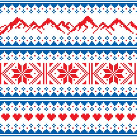 Mountains knitwaer vector seamless pattern -  Fair Isle style traditional knit design for mountain, ski, snowboard and hike loves