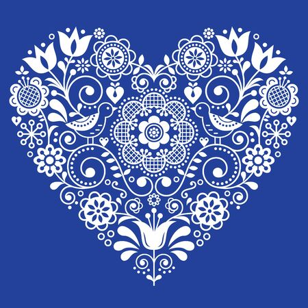 Scandinavian folk heart vector design, Valentines day, birthday or wedding greeting card, floral pattern in white on navy blue