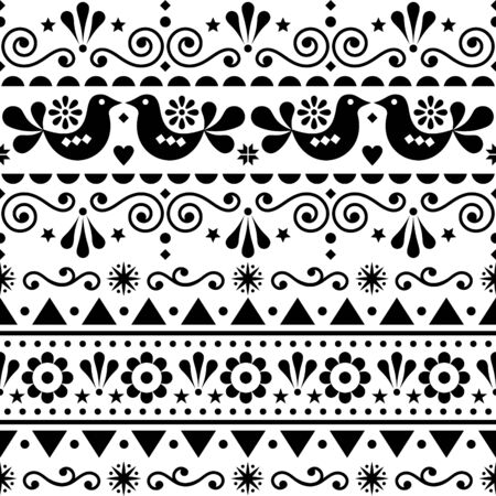 Scandinavian seamless vector pattern folk art style, repetitive cute Nordic design with birds in black on white background